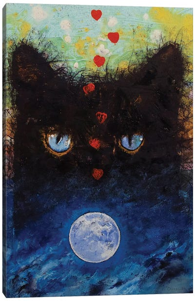 Black Cat In Moonlight Canvas Art Print