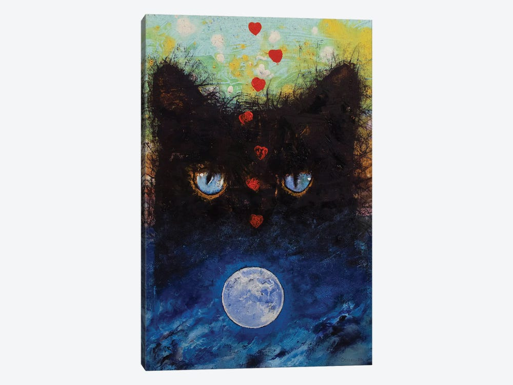 Black Cat In Moonlight by Michael Creese 1-piece Canvas Art Print