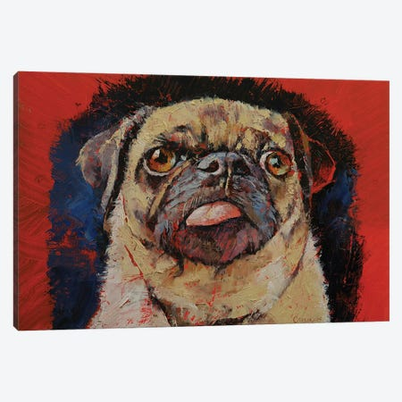 Pug Portrait Canvas Print #MCR256} by Michael Creese Art Print