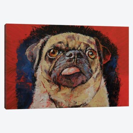 Pug Portrait Canvas Print #MCR256} by Michael Creese Art Print