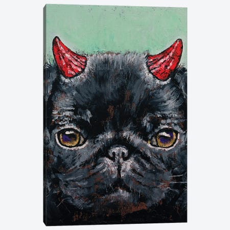 Devil Pug Canvas Print #MCR258} by Michael Creese Canvas Artwork