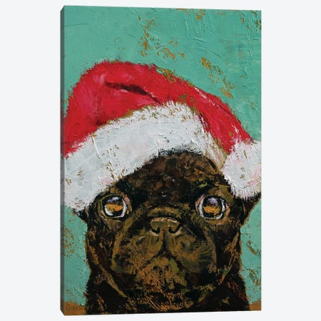 Christmas Pug Canvas Print #MCR259} by Michael Creese Canvas Artwork