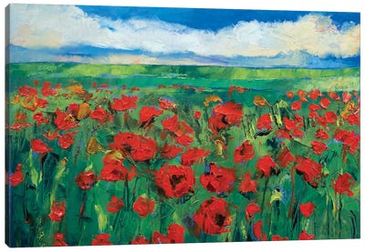 Field Of Red Poppies Canvas Art Print