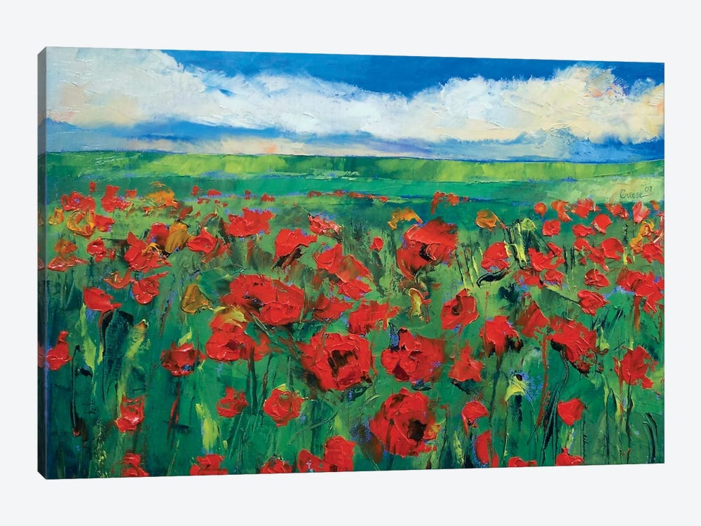 Field Of Red Poppies by Michael Creese 1-piece Canvas Artwork