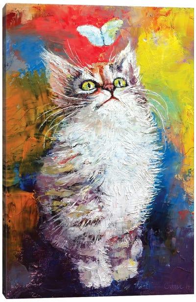 Kitten And Butterfly Canvas Art Print
