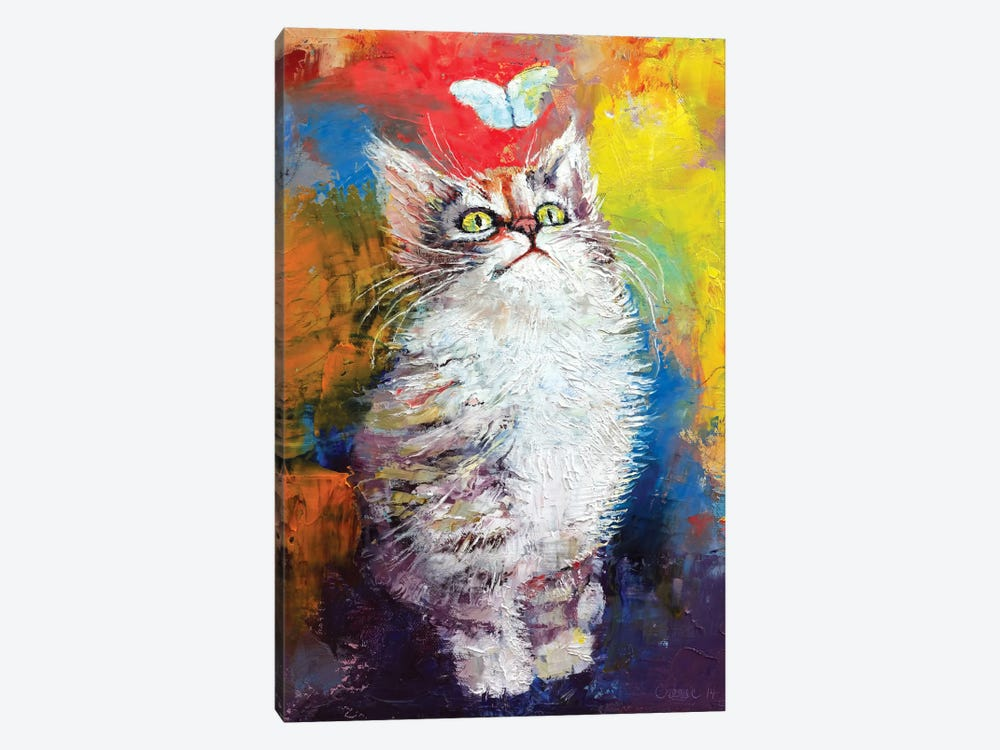 Kitten And Butterfly by Michael Creese 1-piece Canvas Art Print