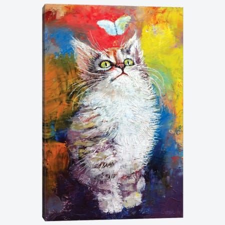 Kitten And Butterfly 3-Piece Canvas #MCR64} by Michael Creese Canvas Print