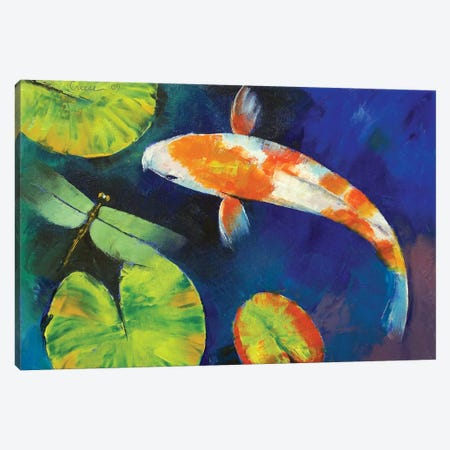 Kohaku Koi And Dragonfly Canvas Print #MCR65} by Michael Creese Canvas Art Print