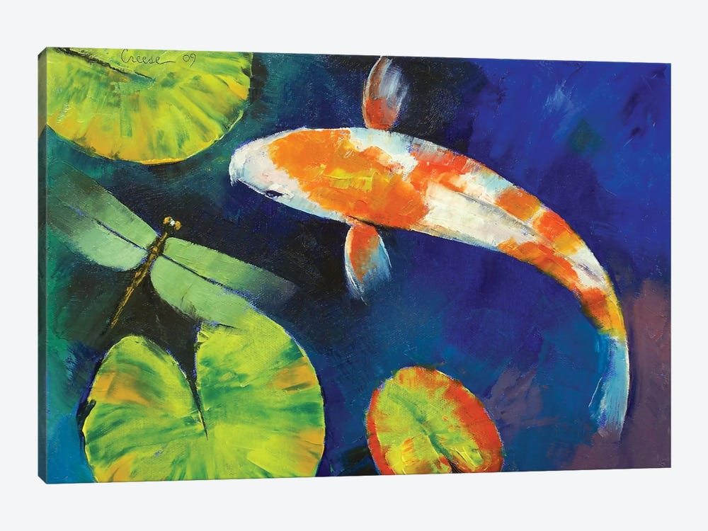 Kohaku Koi And Dragonfly by Michael Creese 1-piece Canvas Artwork