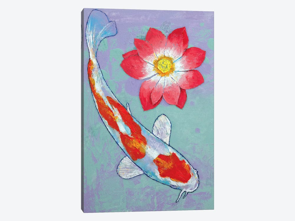 Koi And Lotus by Michael Creese 1-piece Canvas Art