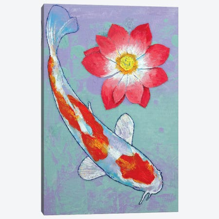 Koi And Lotus Canvas Print #MCR67} by Michael Creese Art Print