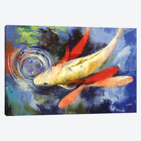 Koi And Water Ripples Canvas Print #MCR68} by Michael Creese Canvas Artwork