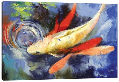 Koi And Water Ripples Canvas Art Print