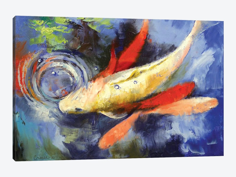 Koi And Water Ripples by Michael Creese 1-piece Canvas Print