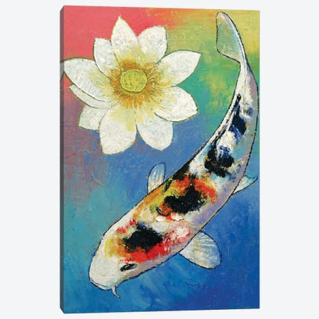Koi And White Lotus Canvas Print #MCR69} by Michael Creese Canvas Wall Art