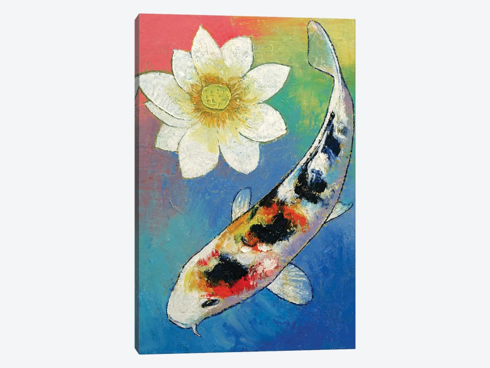 Koi and white lotus canvas artwork by michael creese icanvas for Koi canvas print