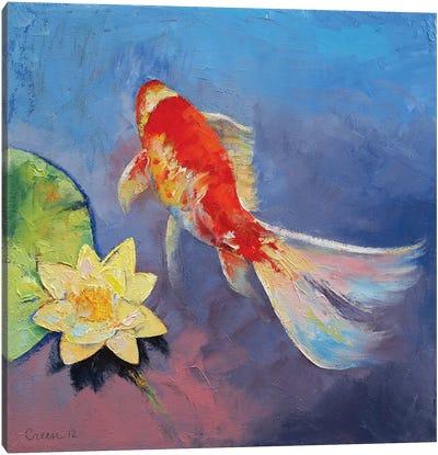 Koi On Blue And Mauve Canvas Art Print