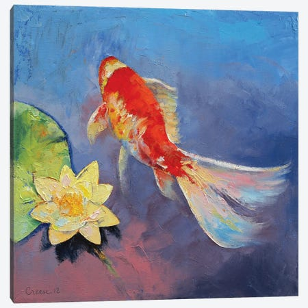Koi On Blue And Mauve Canvas Print #MCR71} by Michael Creese Canvas Art Print