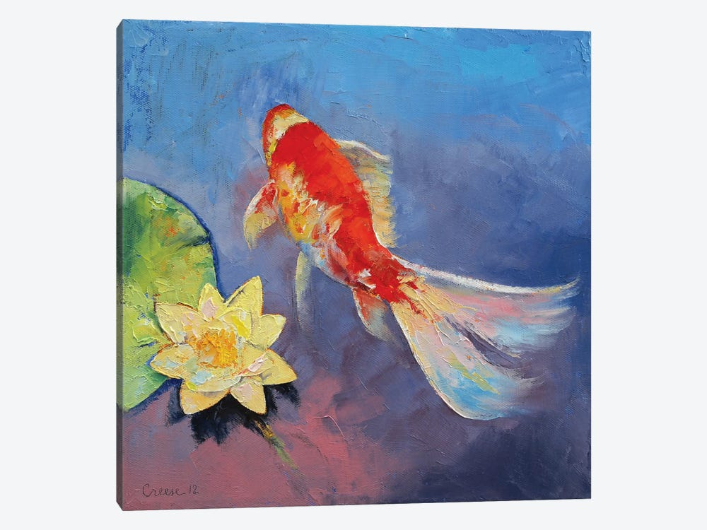 Koi On Blue And Mauve by Michael Creese 1-piece Canvas Print