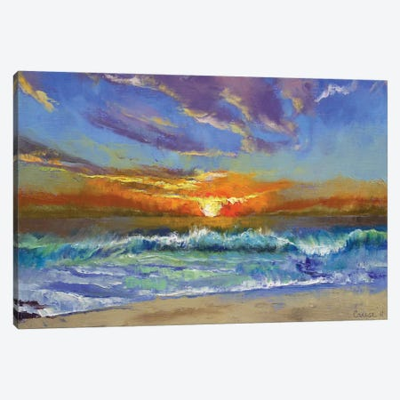 Malibu Beach Sunset Canvas Print #MCR75} by Michael Creese Canvas Wall Art