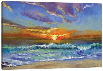 Malibu Beach Sunset Canvas Art Print
