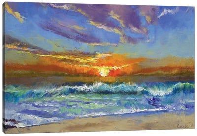 Malibu Beach Sunset Canvas Print #MCR75