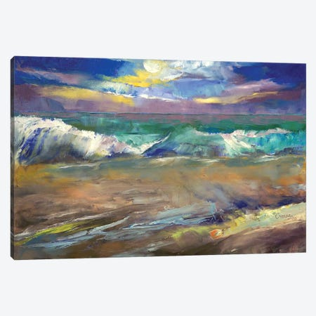 Moonlit Waves Canvas Print #MCR77} by Michael Creese Canvas Wall Art