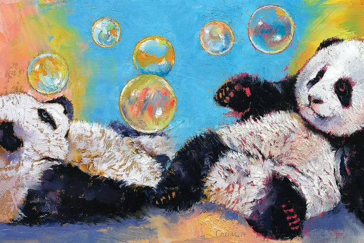 Panda Bubbles Canvas Art Print By Michael Creese Icanvas