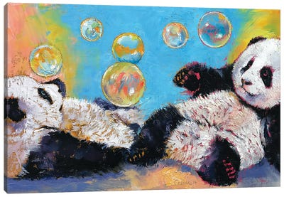 Panda Bubbles Canvas Art Print