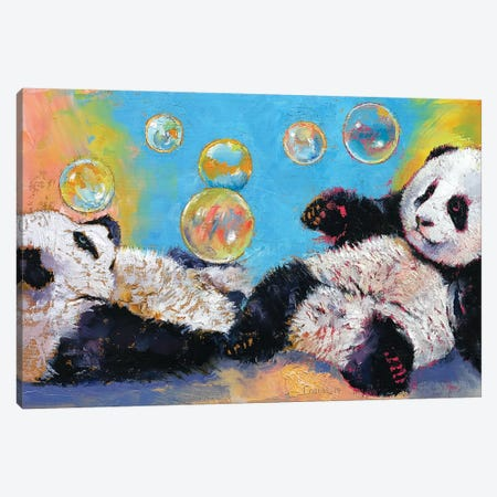 Panda Bubbles Canvas Print #MCR87} by Michael Creese Canvas Art Print
