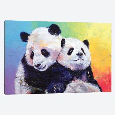 Panda Hugs Canvas Print #MCR89} by Michael Creese Canvas Wall Art