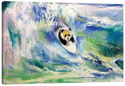 Panda Surfer Canvas Art Print