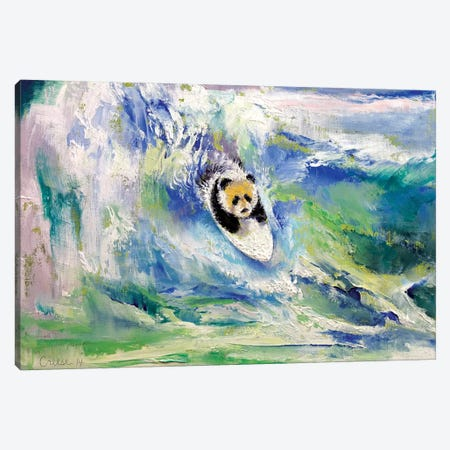 Panda Surfer Canvas Print #MCR91} by Michael Creese Canvas Art Print
