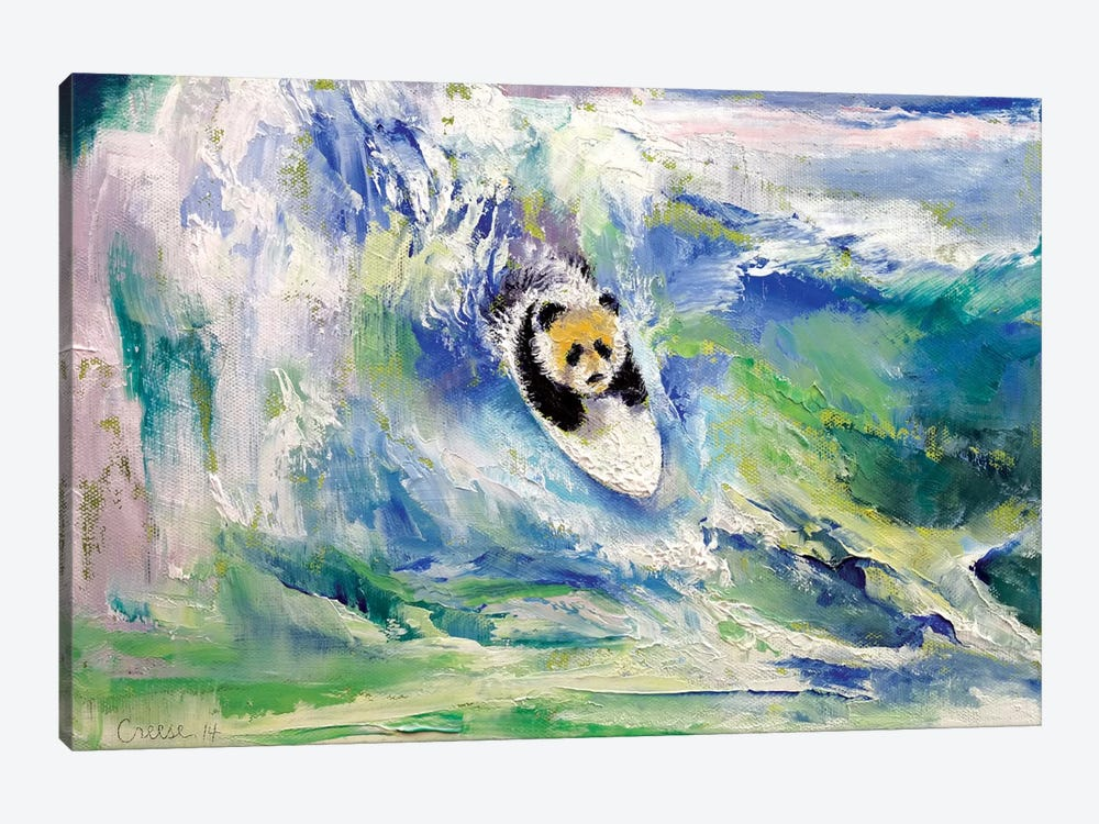 Panda Surfer Canvas Art By Michael Creese Icanvas