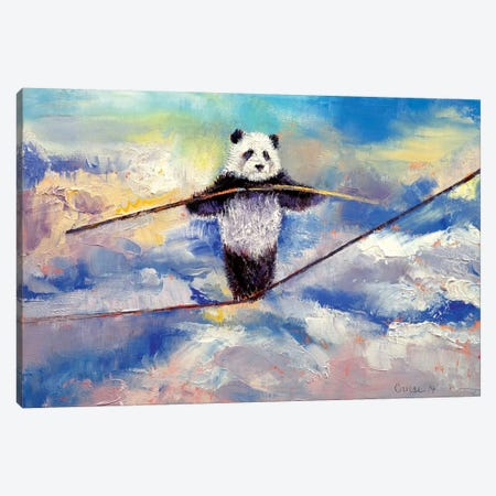 Panda Tightrope Canvas Print #MCR92} by Michael Creese Canvas Art Print