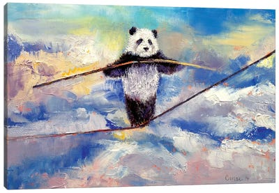 Panda Tightrope Canvas Art Print