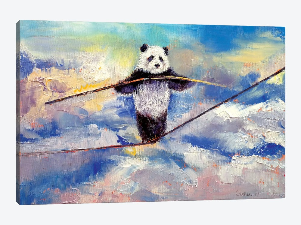 Panda Tightrope Canvas Wall Art By Michael Creese Icanvas