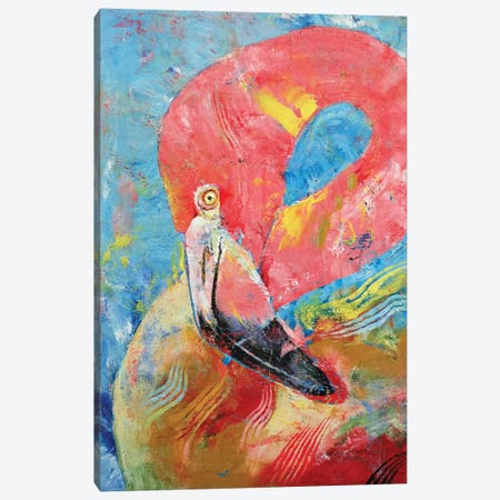 Pink Flamingo Canvas Print #MCR97} by Michael Creese Canvas Wall Art