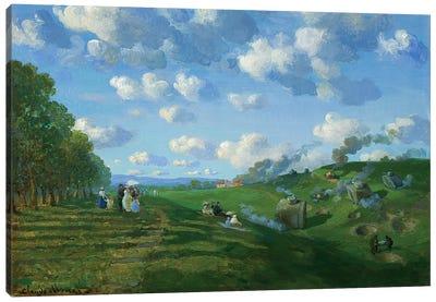 Tank Battle At Fontainebleu Canvas Art Print