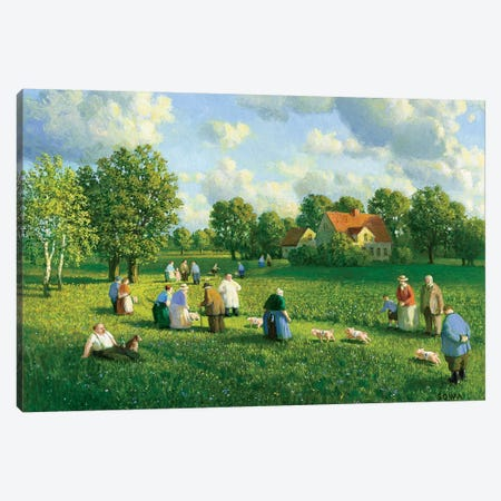 Annual Piglet Race In The Oderbruch, 1907 Canvas Print #MCS2} by Michael Sowa Canvas Art Print