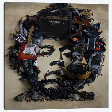 Jimi Hendrix 3D Portrait Canvas Print #MCT13} by Mr. Copyright Art Print