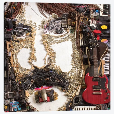 Frank Zappa 3D Portrait Canvas Print #MCT9} by Mr. Copyright Canvas Artwork
