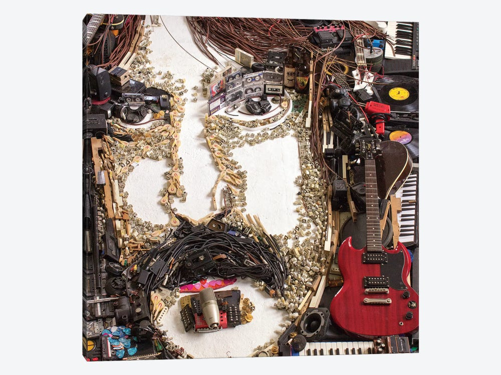 Frank Zappa 3D Portrait by Mr. Copyright 1-piece Canvas Print
