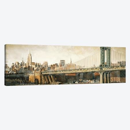 Manhattan Bridge View 3-Piece Canvas #MDA21} by Matthew Daniels Canvas Art