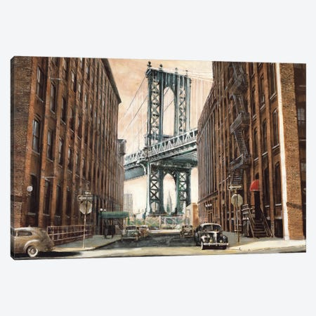 View to the Manhattan Bridge 3-Piece Canvas #MDA26} by Matthew Daniels Art Print