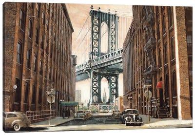 View to the Manhattan Bridge Canvas Art Print
