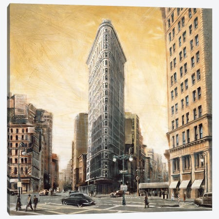 The Flatiron Building Canvas Print #MDA4} by Matthew Daniels Canvas Artwork