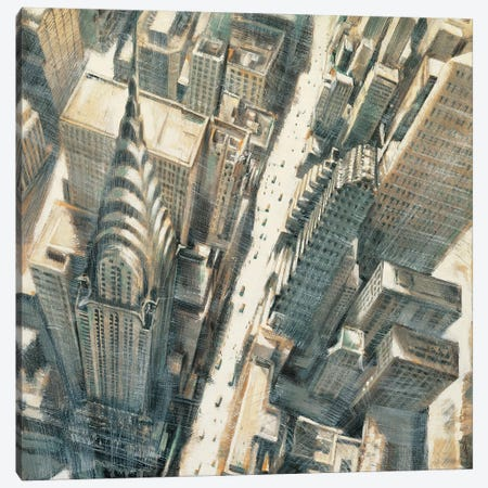 Aerial View Chrysler Bldg 3-Piece Canvas #MDA9} by Matthew Daniels Art Print