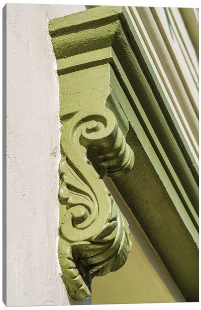 Architectural detail on the Clarendon building, Old Sacramento Historic Center, Sacramento, CA Canvas Art Print