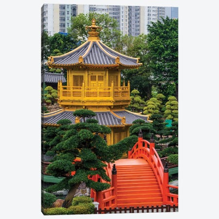 The pagoda at the Chi Lin Nunnery and Nan Lian Garden, Kowloon, Hong Kong, China. Canvas Print #MDE14} by Michael DeFreitas Canvas Art